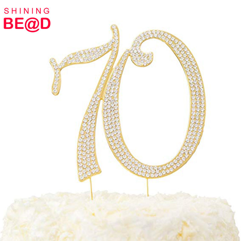 Strass 70 Cake Topper voor 70th Verjaardag/Anniversary Party decoratie