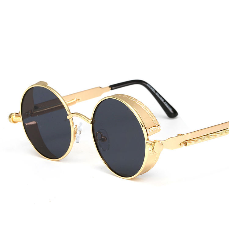 Hot Sales Antique Designs Punk Styles Metal Frame Eyeglasses Retro Small Round Mirrored Steampunk Sunglasses Glasses