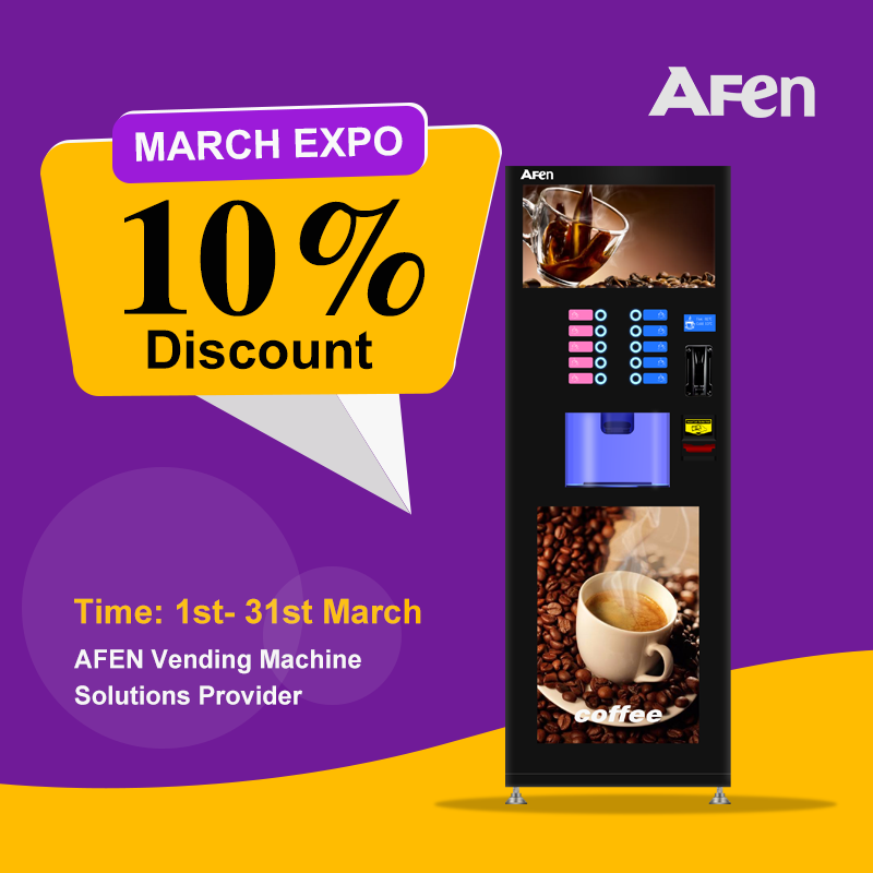 AFEN commercial coin bill card operated auto cup coffee vending automatic coffee machine vending