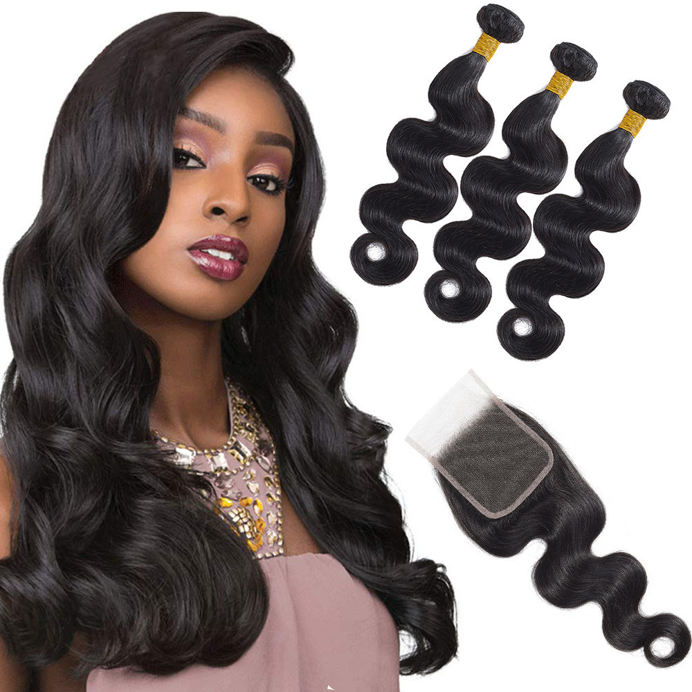 Ainizi cheap hot remy 4x4 closures human hair natural hair extension brazilian hair bundles body wave bundles with closure