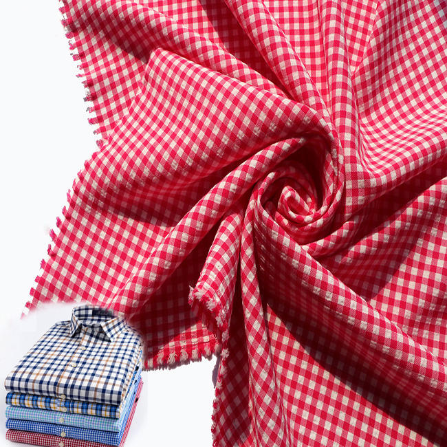 plaid pattern 96% polyester 4% spandex 11*2*21 garment material yarn checked shirt stretch fabric