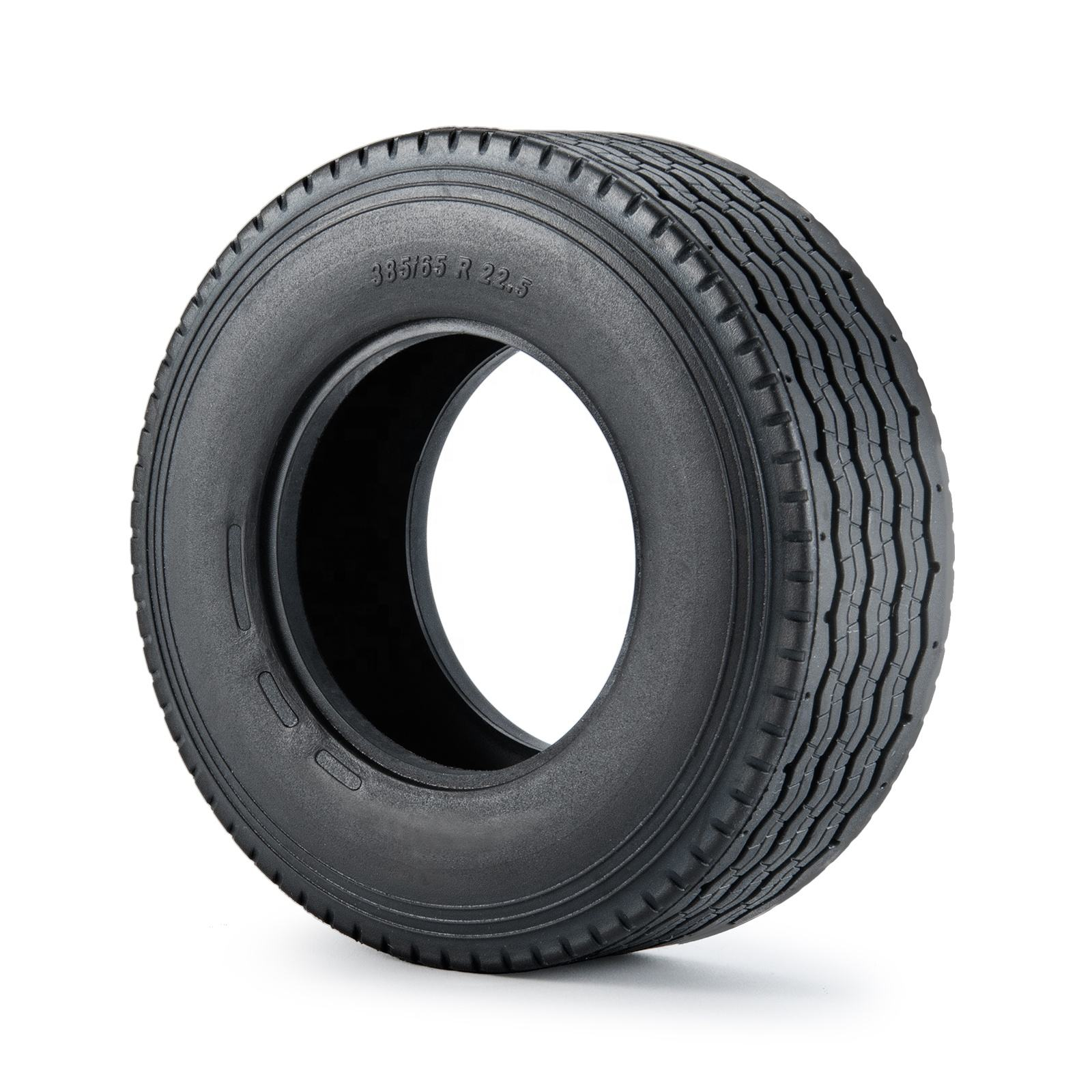 30mm Width Black Rubber Tyres Tires for Tamiya 1:14 RC Trailer Tractor Truck Front Wheel Rims