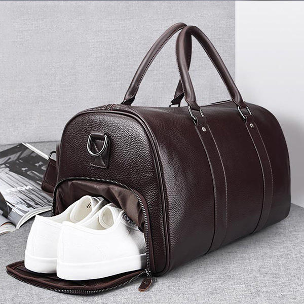 High Quality Leather Mens Duffel Gym Sports Travel Weekend Duffle Bag