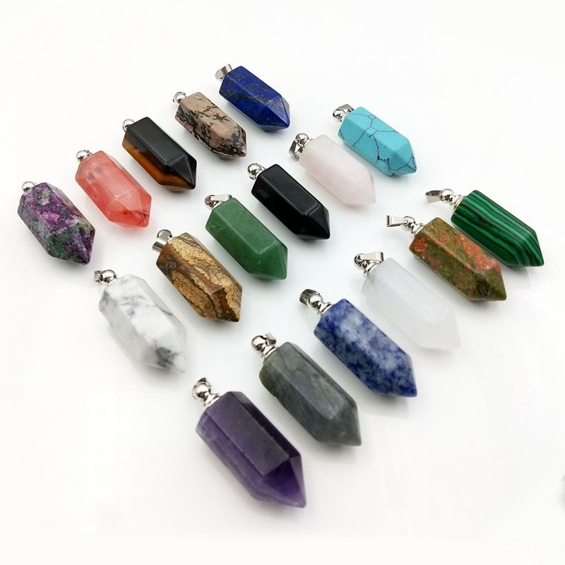 Wholesale Natural Chakra Quartz Healing Bottle Bullet Opened Pendant Hexagonal Point Necklace European and American Jewelry