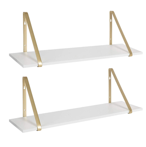 White Wooden Shelves with Gold Metal Brackets, 2 Piece Set