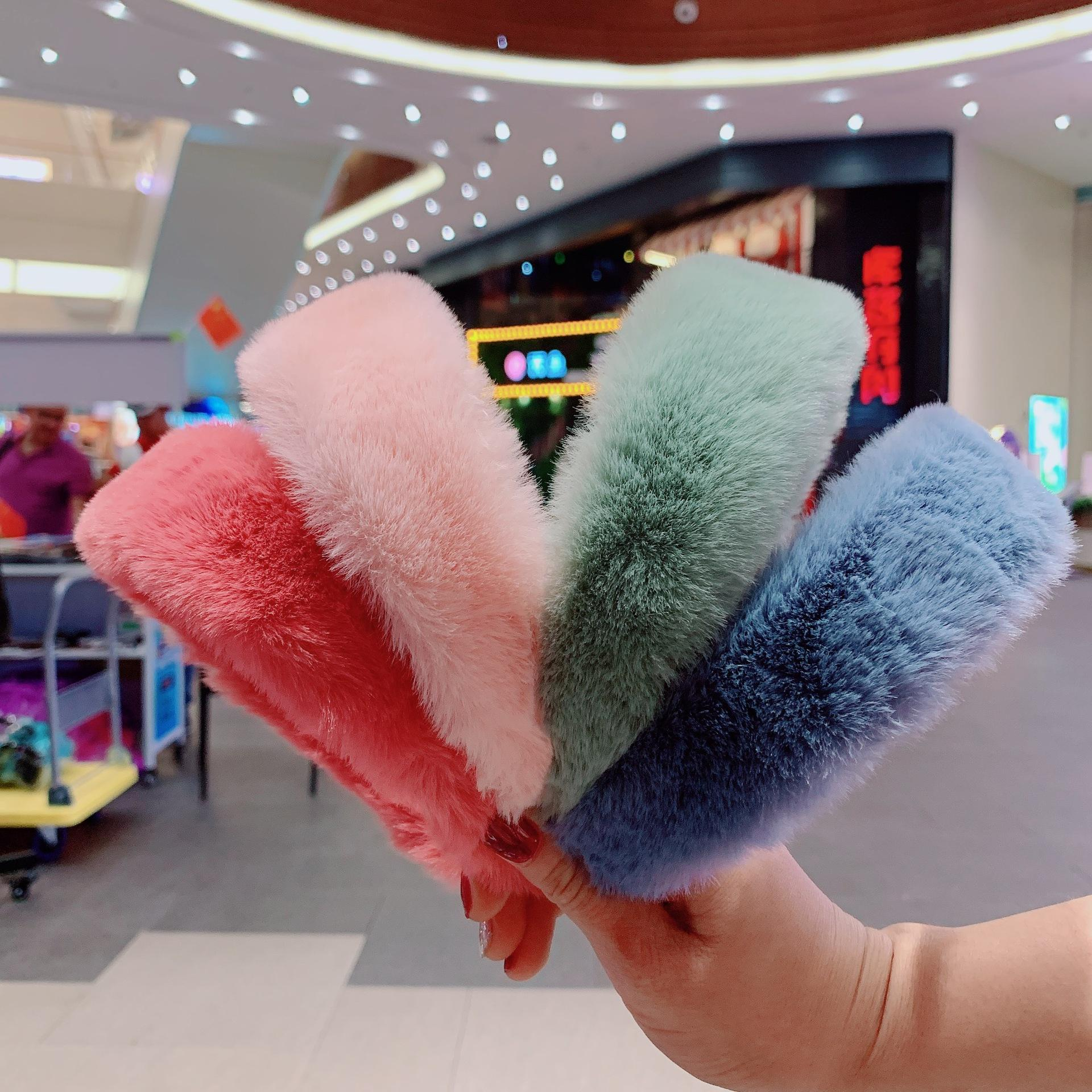 Winter Women New Fashion Solid color Headwrap Hair Accessories Pure Color plush wide Fur Headband