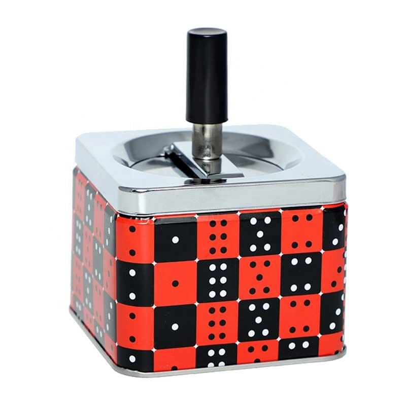 Square windproof push down lid cover automatic metal tin cigarette ashtray with dice design smokeless rotatable metal ashtray