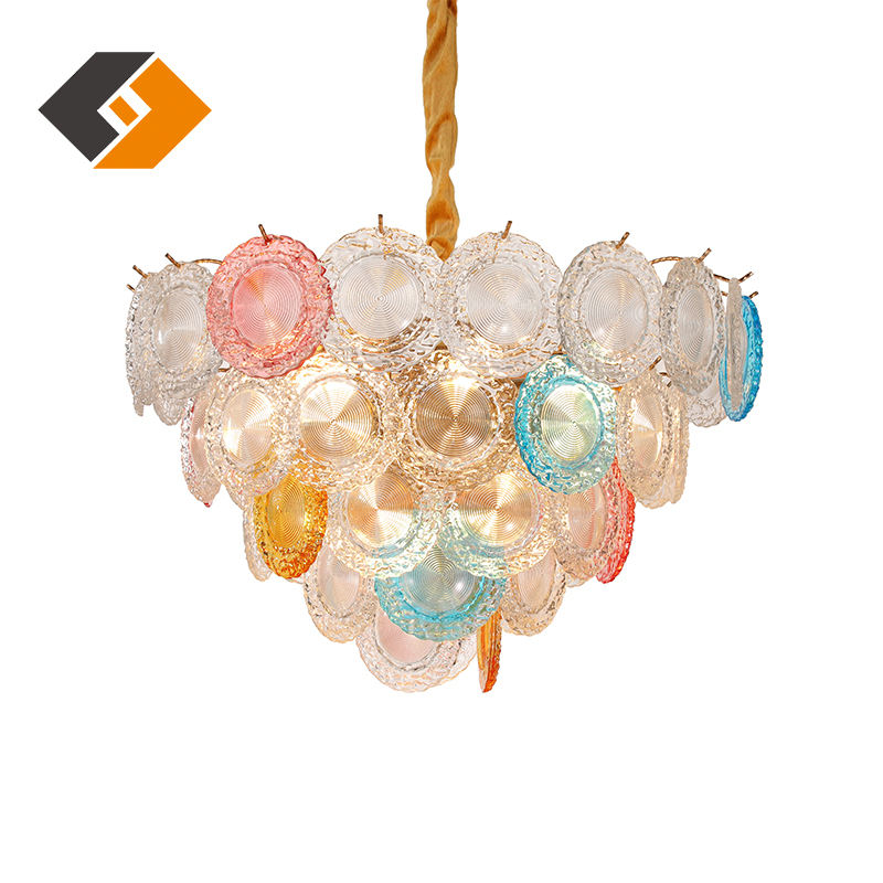 Indoor Modern Italy colorful shells glass lampshade rainbow light LED hanging lighting decoration home