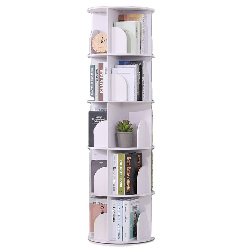 Circular 360-degree Rotating Bookcase Corner of The Dormitory Students Bookshelf, Book Rack for Living Room