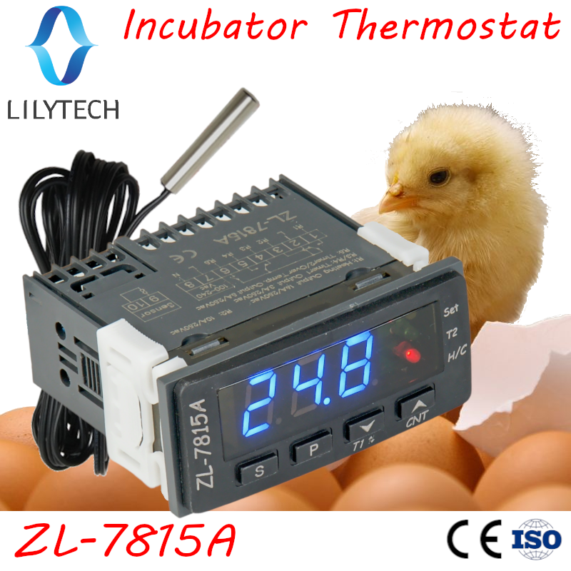 ZL-7815A, Thermostat for Incubator, Incubator Controller, with Two Timer Outputs for Egg Tray Turn and Air Exhaustion, Lilytech