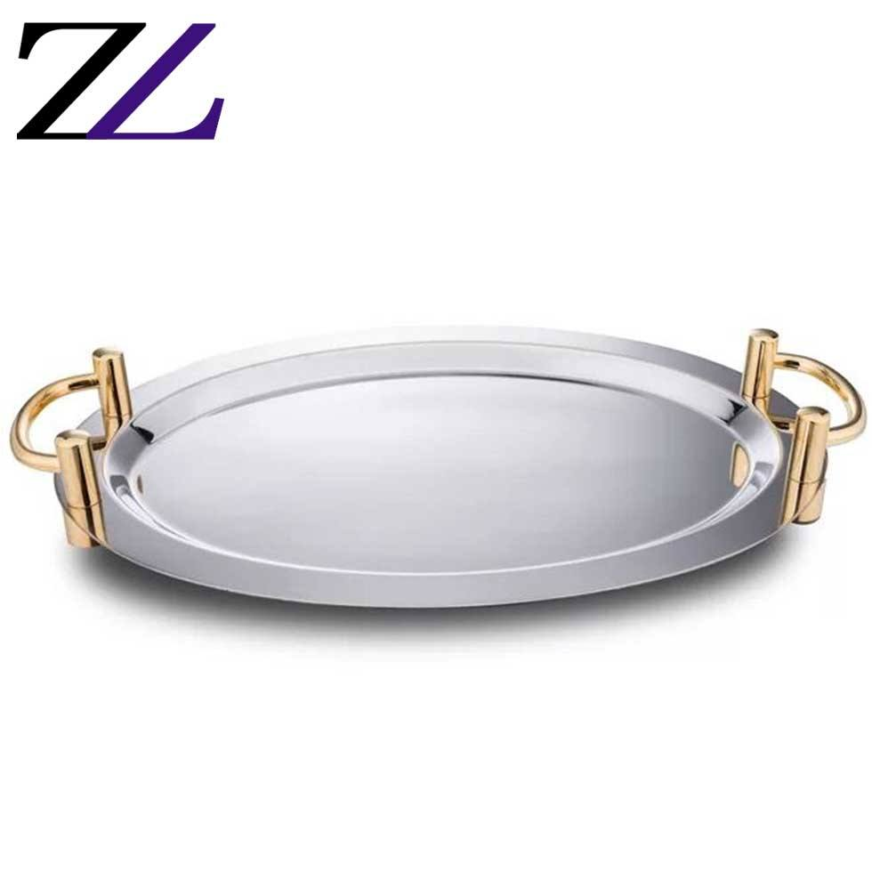 Restaurant equipments table top stainless steel oval mirrored canteen food dessert service display moon cup cake tray for cake