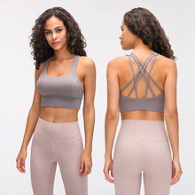 2020 new style align women's shockproof gathering upper support with breast pad widened lower hem sports brushed hairy Yoga bra