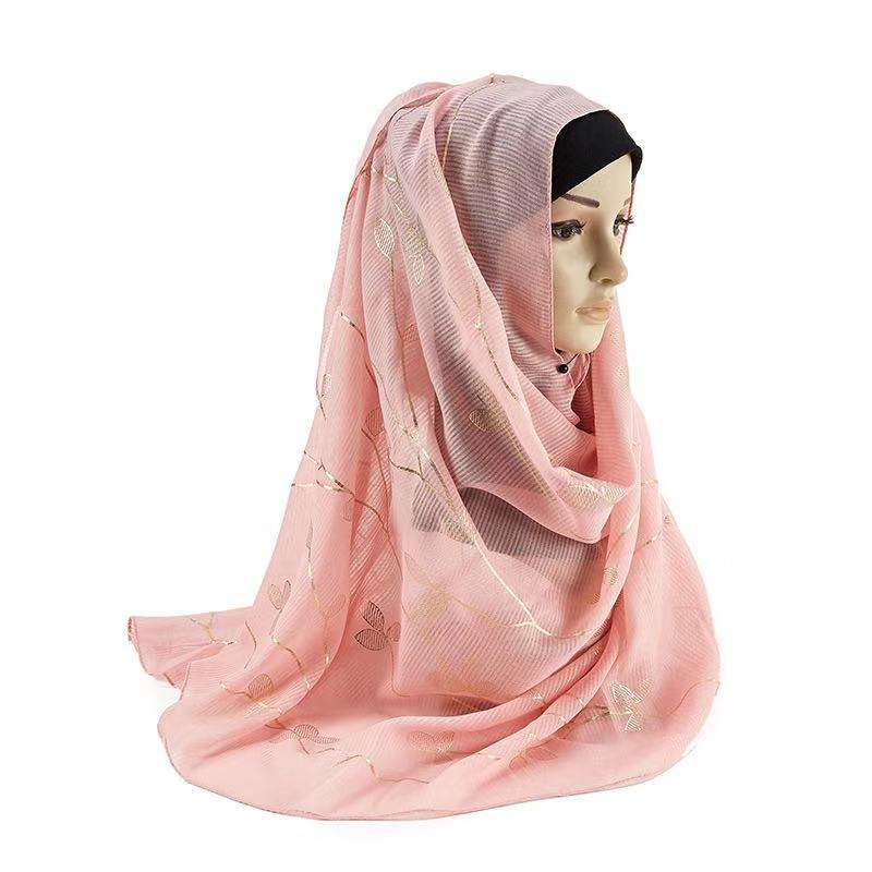 2019 New fashion cotton and linen Gilt leaf pattern muslims veils and hijabs