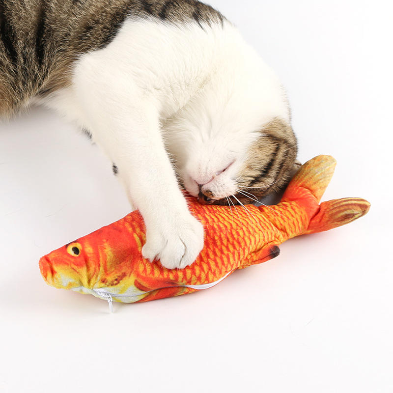 2020 best Christmas interactive automatic plush pet cat toy fish Electric Simulation Doll floppy Wiggle fish cat Catnip toy USB