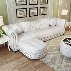 L shape home wooden comfortable white chesterfield sofa set furniture