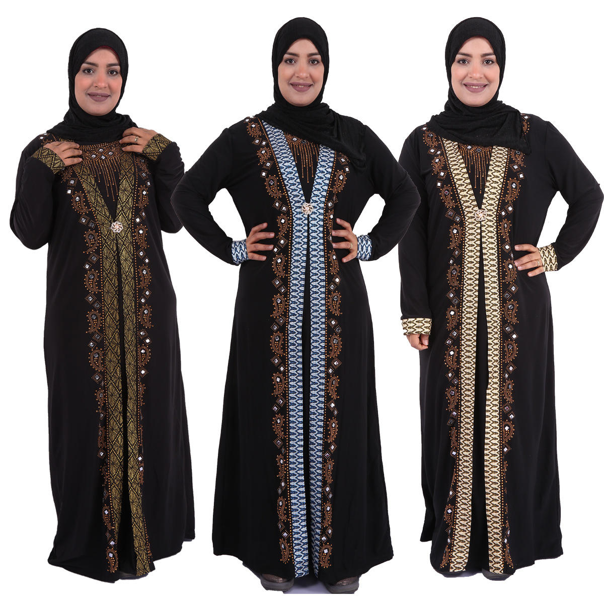 High Quality Women Islamic Prayer Lady Black Robe Arabic Robe Hijab Rhinestone Printed Dress Muslim