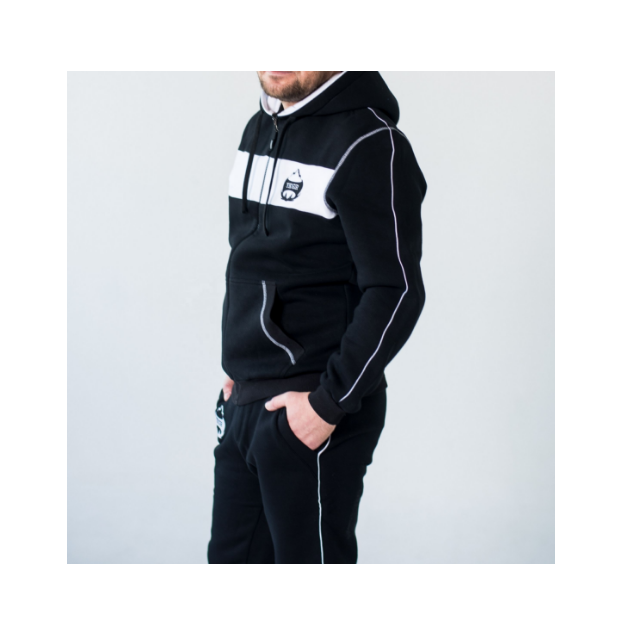 High quality Cotton and polyester warm tracksuit for men b&w Men's sports suit