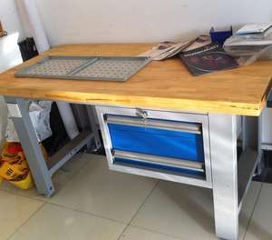 assembly industrial working table in woodworking benches