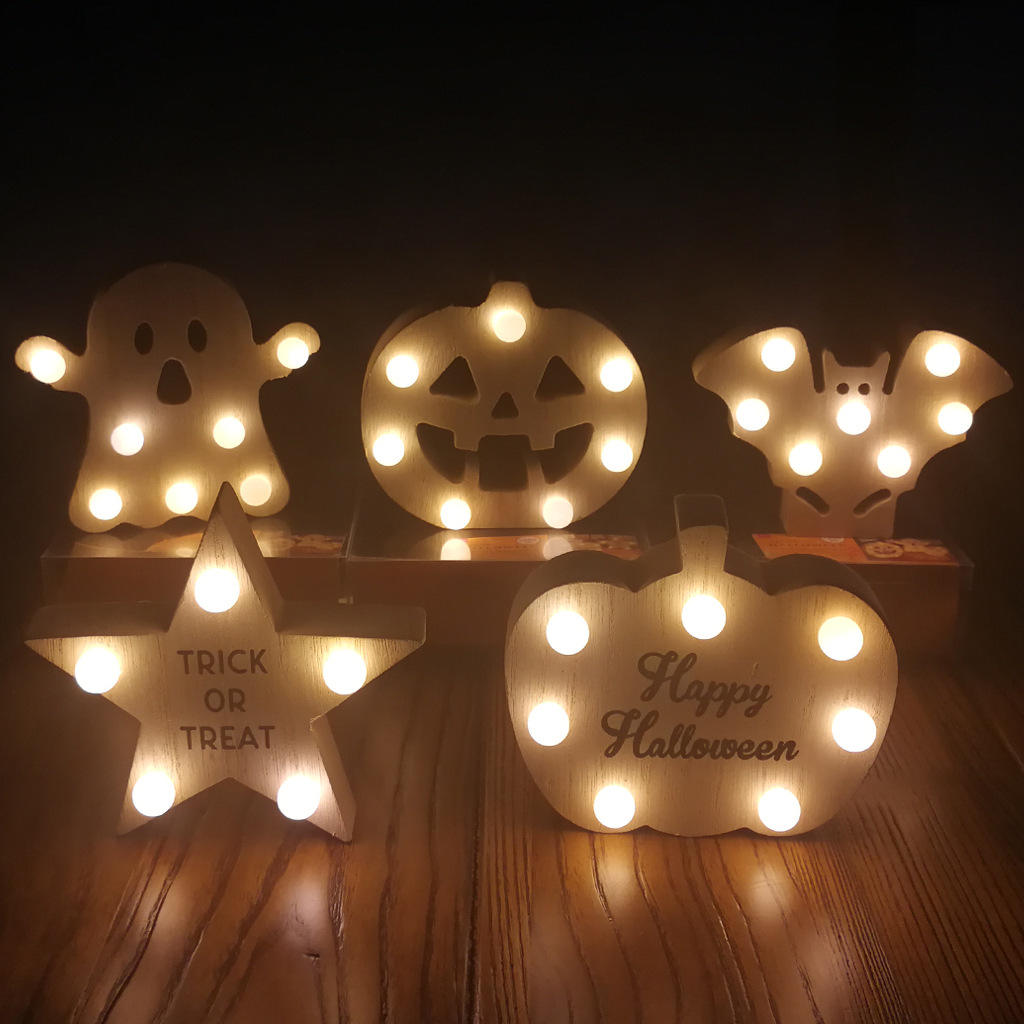 2020 NEW Product DIY Wooden Halloween pumpkin man ghost bat five-pointed star printed decoration with bulb LED lamp craft