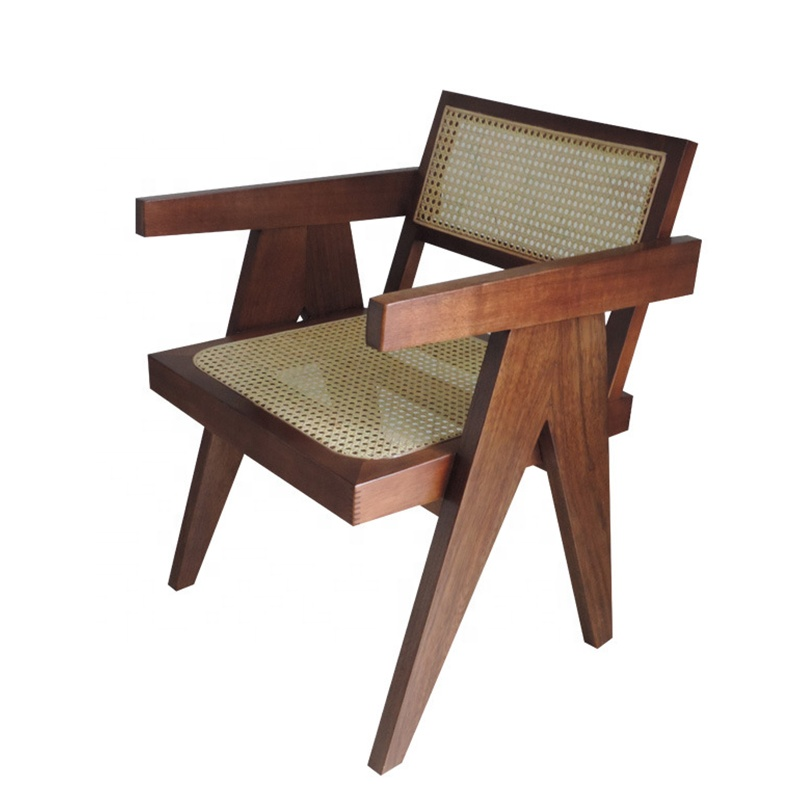 Solid Oak Wood Restaurant Rattan Chair Rattan Wood Cane Chair