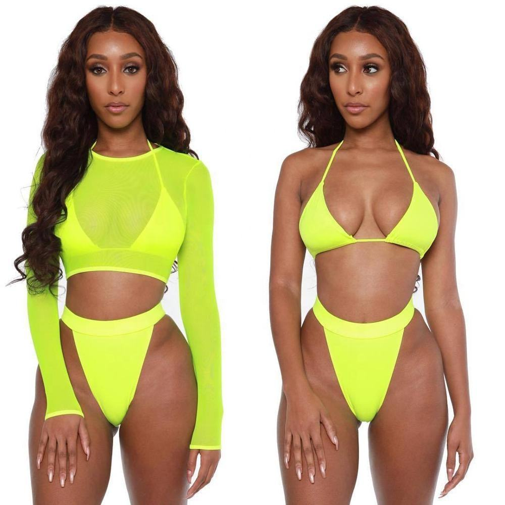 2020 Hot Sells Summer Women Sexy Beachwear Mesh See Through Long Sleeves Cover Top Three Piece Swimsuit Bikini Set