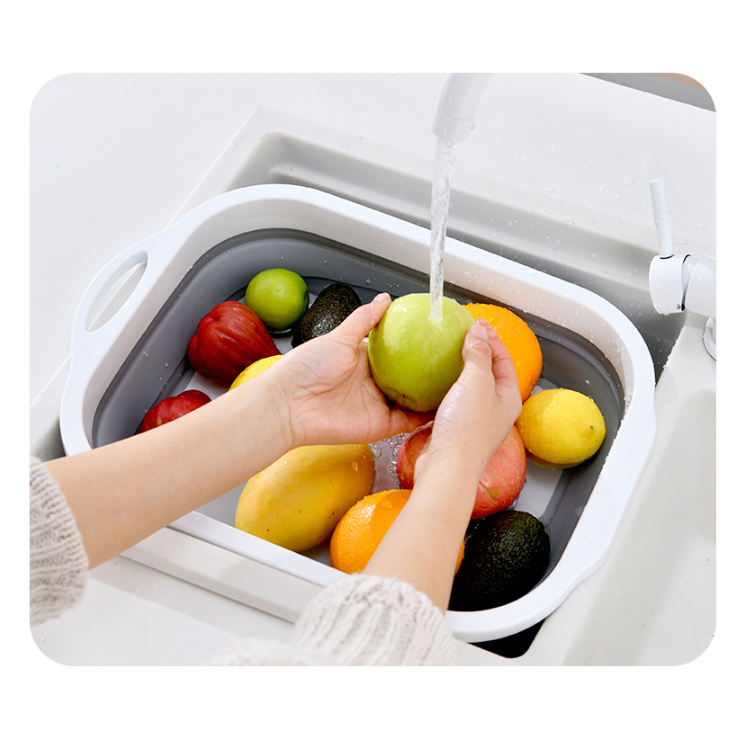 Beeman Large Storage 3-In-1 Collapsible Drying Dish Storage Rack Dish Drainer Cutting Chopping Board For Kitchen Counter