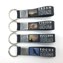(12-pack) Motivational Quote Silicone Wristband Keychains - Success, Dream, Focus, Vision - Wholesale Key ring Quote Gifts
