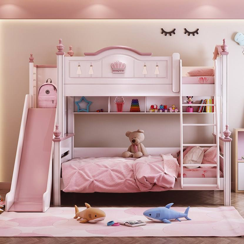 children bed modern pink princess bed kids bunk beds double Girls Bedroom Furniture Wooden American Style high quality