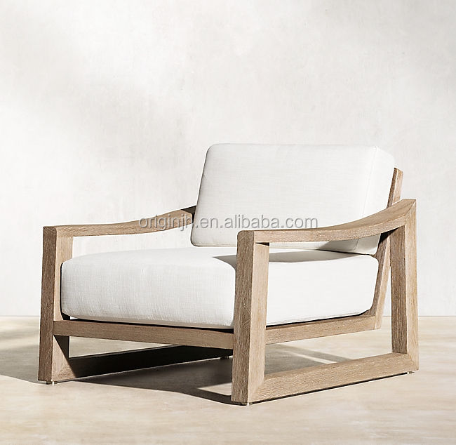 Hot Sale country style garden patio luxury real wood lounge single sofa teak outdoor furniture