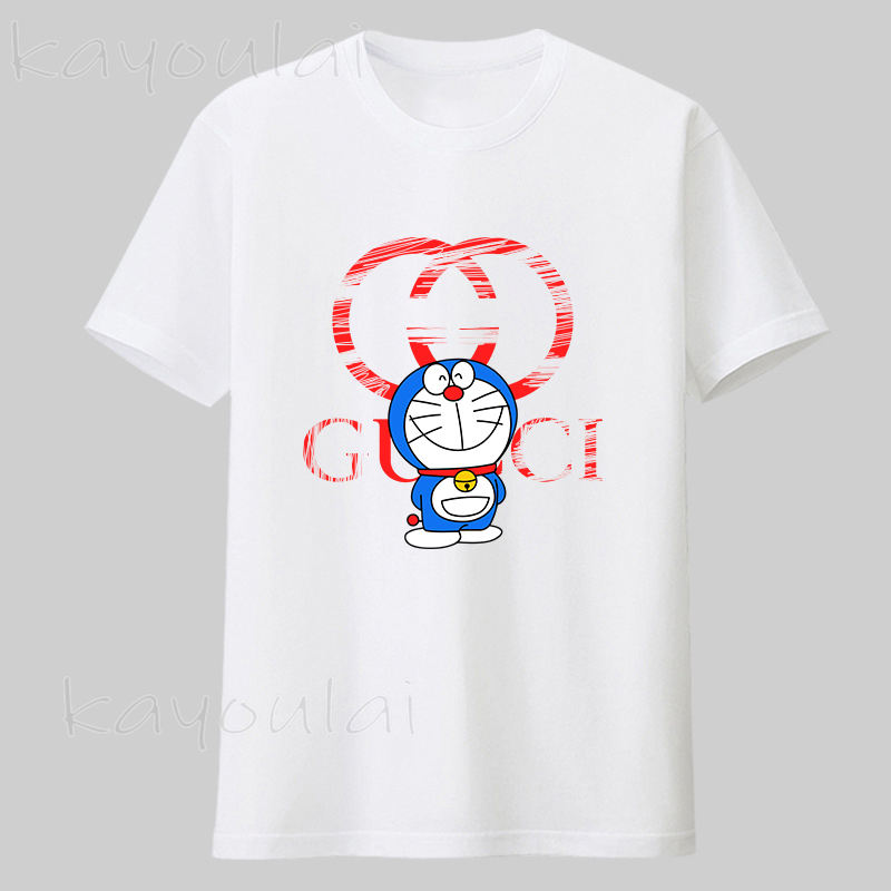 New fashion G home T-shirt Doraemon print round neck cotton T-shirt love casual style hundred couple tops