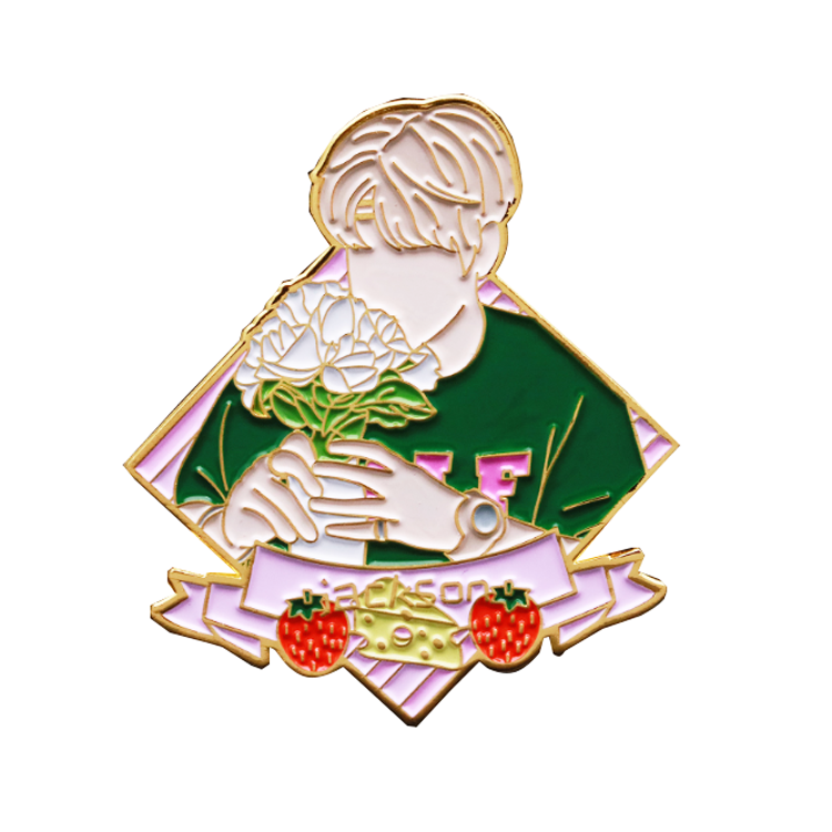 Free sample custom soft gold idol shape enamel lapel pin with gift