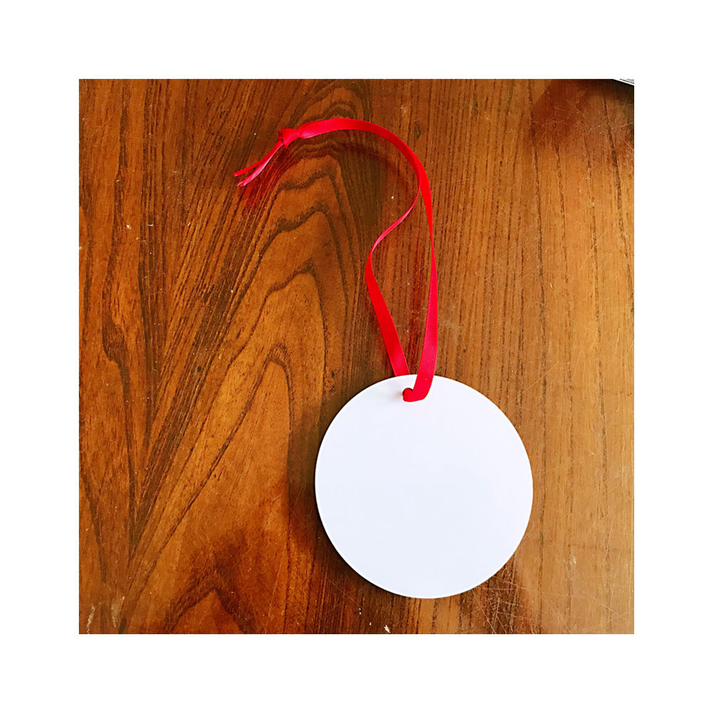 2020 Hot Selling Double Side Gloss White Blank Dye Sublimation Printable Aluminum Custom Holiday Ornaments Benelux Round Circle