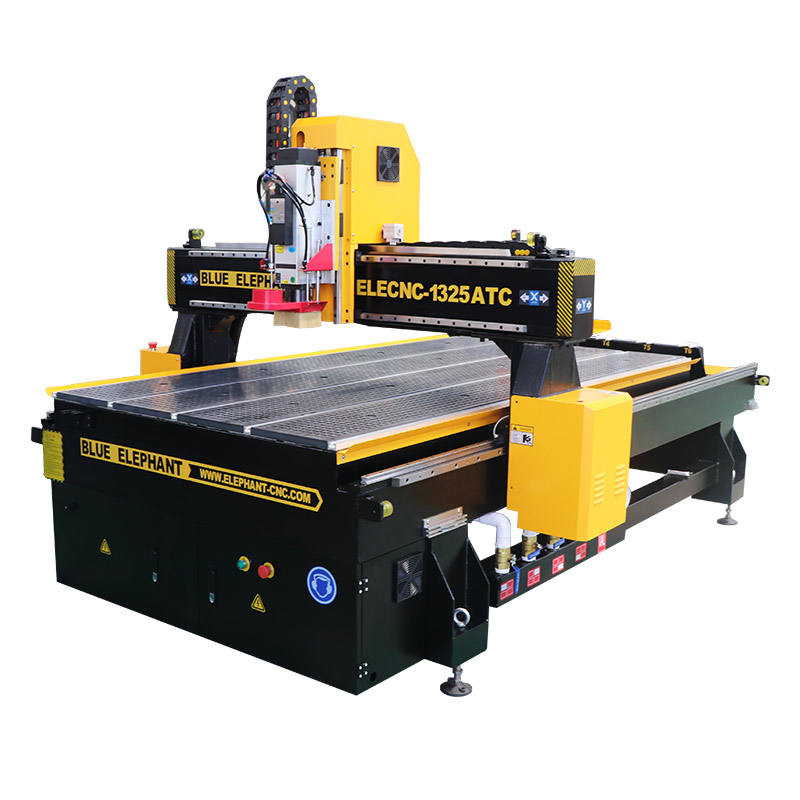 dust collection 6kw spindle automatic tool changer cnc router with 6 tools storage in line for wood, aluminum composite panel