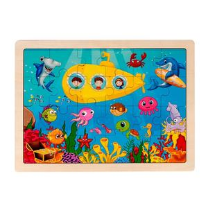 Wholesale Stock Custom printable sublimation cartoon educational toy Children kids wooden Puzzles