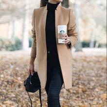 Fashion Solid Color Turndown Neck Long Sleeve woman trench coat