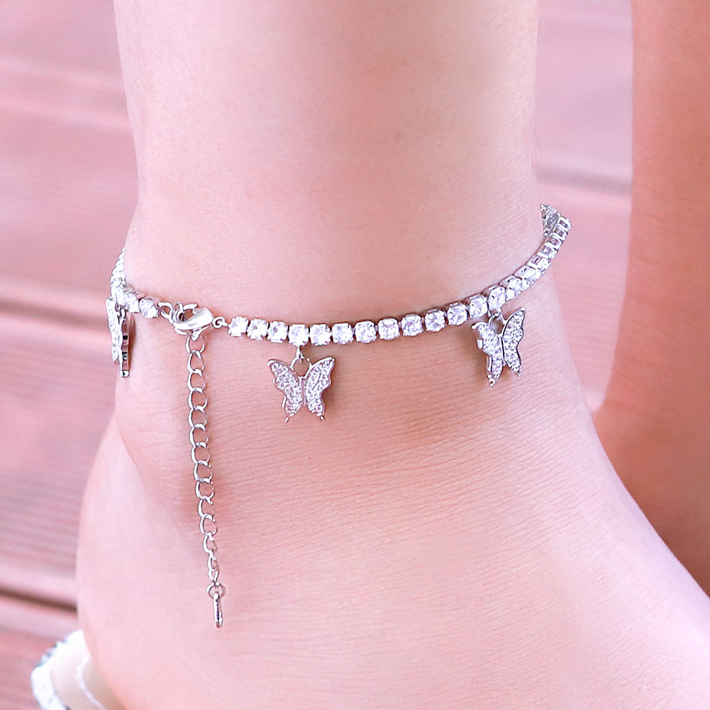 KRKC Wholesale Stainless Steel Crystal Butterfly Anklet Women Jewelry Diamond Tennis Butterfly Ankle Bracelet Butterfly Anklet