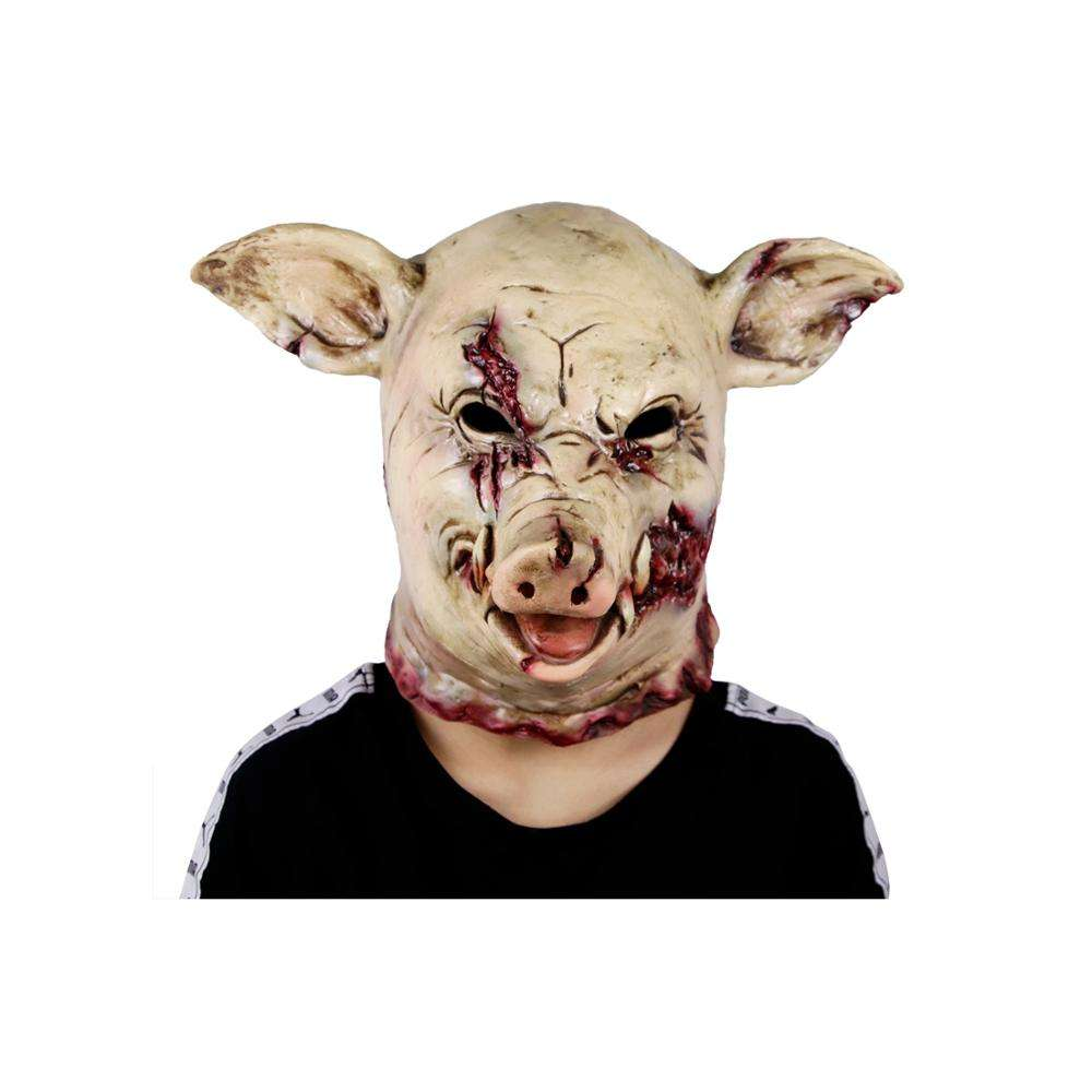 Molezu New Custom Del Lattice di Halloween Creepy Pig Maschera Maschera di Orrore Testa Piena Mascherine Del Partito per I Costumi Cosplay Occasioni