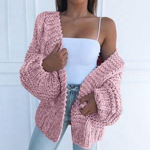 Ladies fashion casual heavy warm hand knitted cardigan winter sweater women