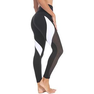 Vrouwen Yoga Broek Kleur Blokkeren Mesh Workout Running Leggings Panty