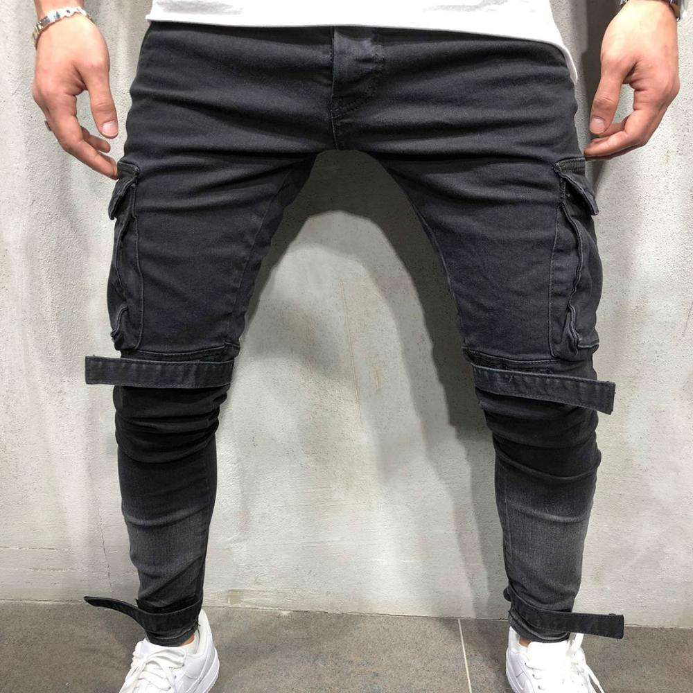 Plain Dyed Ripped Denim Mens Jeans Slim Fit Pencil Pants Black Stretch Korea Style Big Pocket Small hem Tape Jeans Skinny