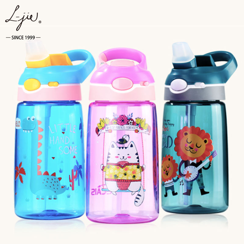 Cartoon Autospout BPA Free Creative New Tritan Food Grade Silicone Suction Water Bottle 450ML Children's Plastic Kettle
