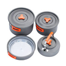 Outdoor 4~5 person camping cookware set picnic hiking aluminum backpacking pot pan portable cookware sets