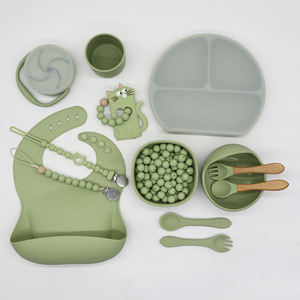 bpa free eco bamboo wooden plate sets toddlers dinner divided food feeding kids suction put baby silicone plates