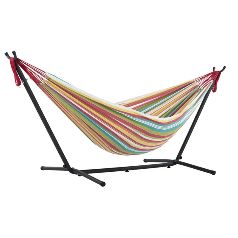 APHACATOP New Design Outdoor/Indoor Use camping hammock with Space Saving Steel Stand Double Cotton Hammock
