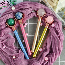 2020New types Portable Natural gemstone roller balls Massager Tools Zinc Alloy Handle for Body Massager