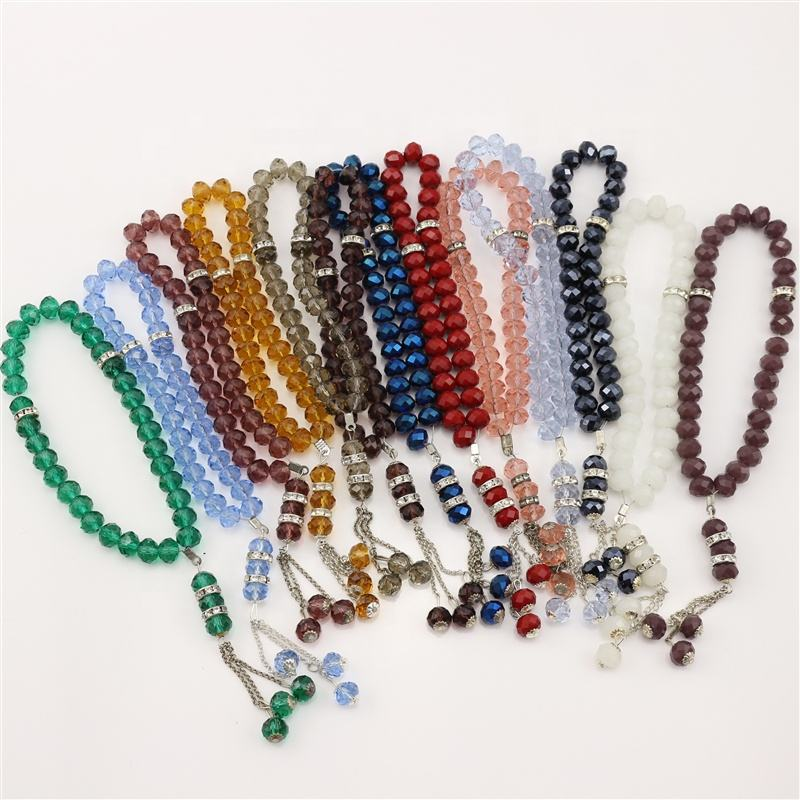 2020 jewelry Factory directly sale K9 crystal material shining all colors islamic Muslim Crystal Prayer Bead for hot selling