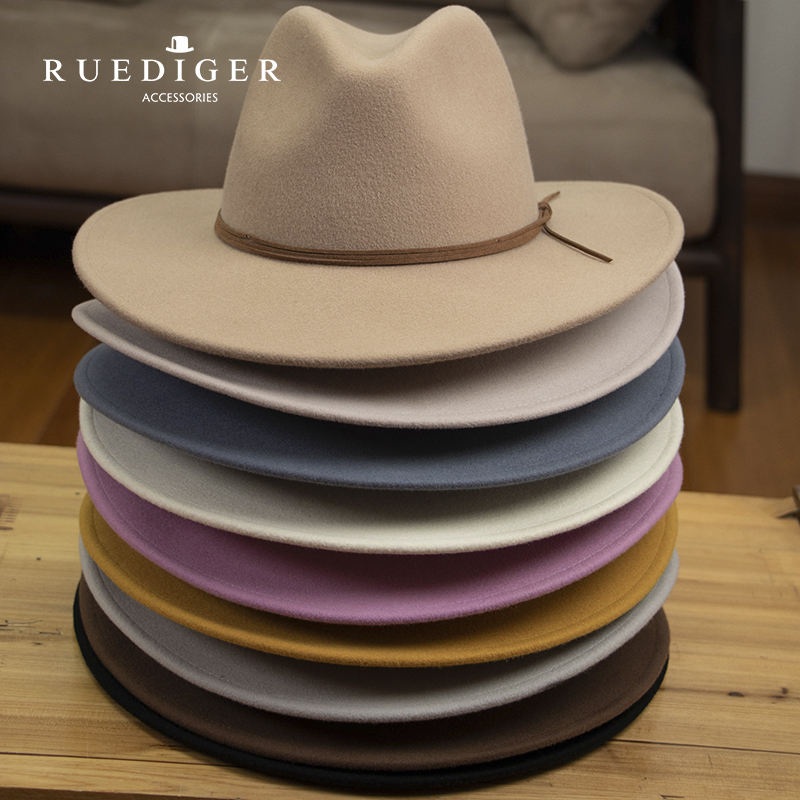 Customized Multiple Color Spring Outdoor Fashion Medium Brim 100% Wool Fedora Hats For Women