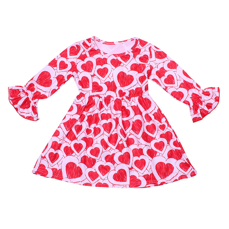 2020Valentines baby girl dress sweet heart latest baby frock design for spring toddler girl elegant princess dress for party