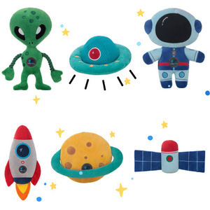 Pet Pack Set Puppy Starry Dream Chew Toys Pet Dental Healthy Astronaut Rocket Shape Squeaky Dog Toy