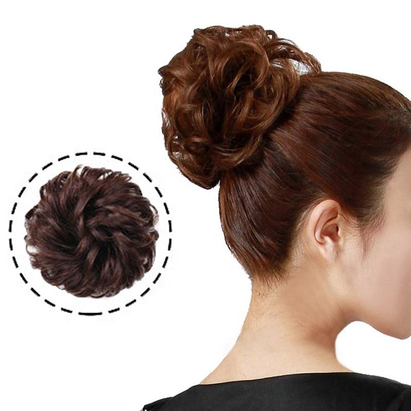 Vigorous Messy Curly Hairpieces for Women Hair Bun Elastic Scrunchie Chignon Updo Curly Hair Human Hair Wrap Ponytail